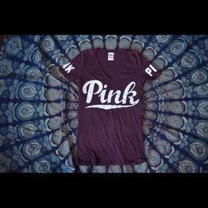 PINK Burgundy Fitted V Neck